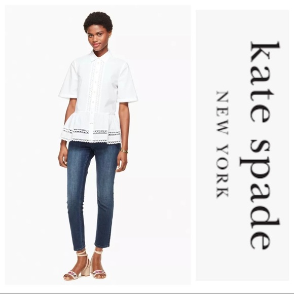 Kate Spade Peplum Lace Inset Button Down